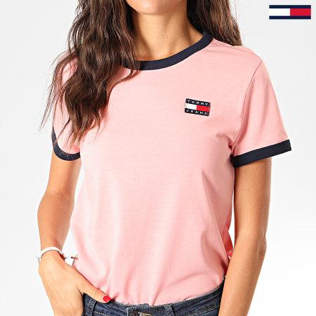 Tommy Hilfiger Jeans - Tee Shirt Femme Badge Ringer 7226 Rose