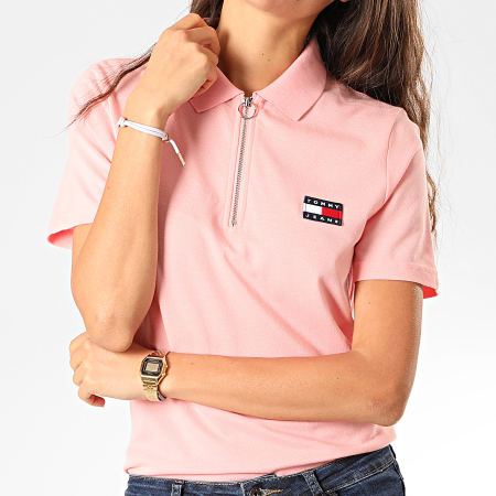 Tommy Hilfiger Jeans - Polo Femme Manches Courtes Badge 7642 Rose