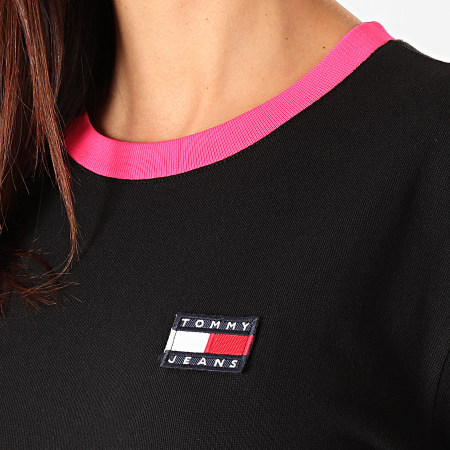 Tommy Hilfiger Jeans - Robe Tee Shirt Femme Manches Longues Contrast Rib 7756 Noir