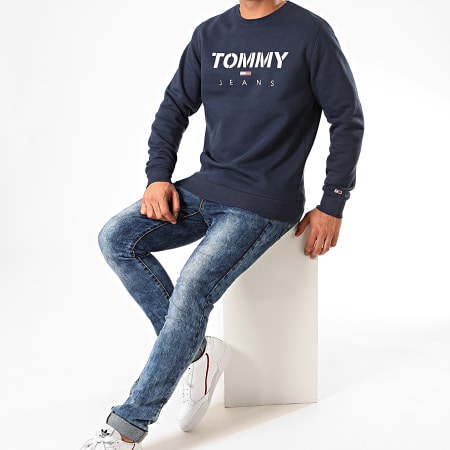 Tommy Hilfiger Jeans - Sweat Crewneck Novel Logo 7614 Bleu Marine