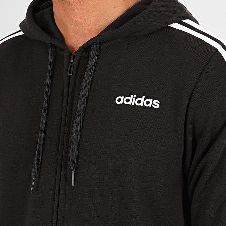 adidas - Sweat Zippé Capuche A Bandes Essentials DQ3102 Noir Blanc