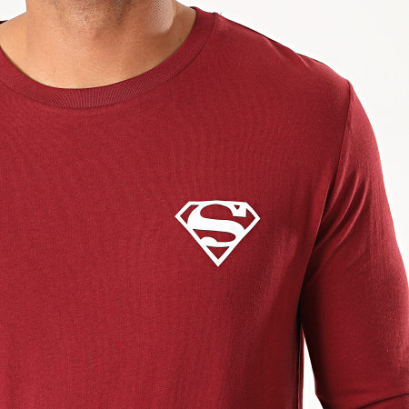 Superman - Tee Shirt Manches Longues Logo Recto Verso Bordeaux