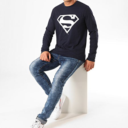 Superman - Tee Shirt Manches Longues Big Logo Bleu Marine