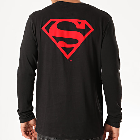 Superman - Tee Shirt Manches Longues Logo Feutrine Recto Verso Noir Rouge