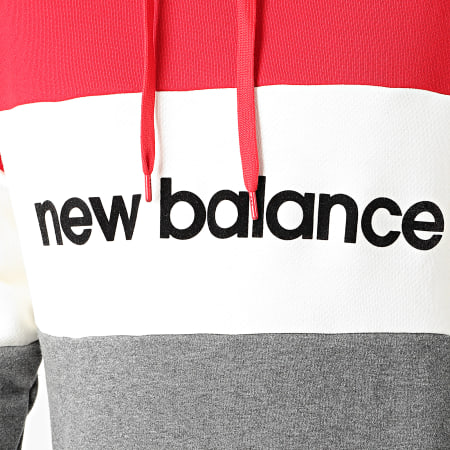 New Balance - Sweat Capuche 742240 Rouge Ecru Gris Anthracite Chiné