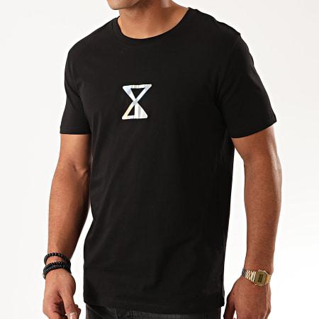 Rilès - Tee Shirt Logo Iridescent Recto Verso Noir