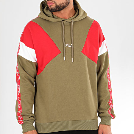 Fila - Sweat Capuche Tricolore A Bandes Umar 687354 Vert Kaki Rouge Blanc