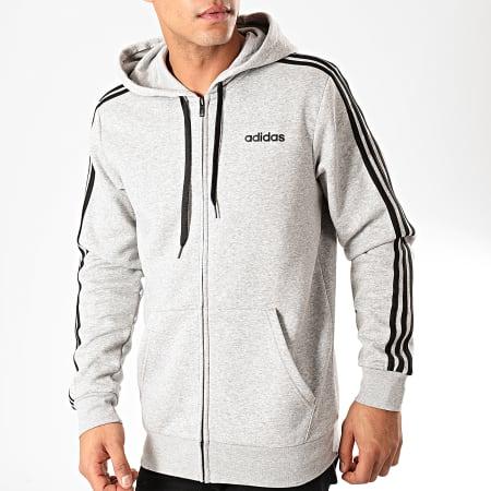 adidas - Sweat Zippé Capuche A Bandes Essentials DU0476 Gris Chiné Noir