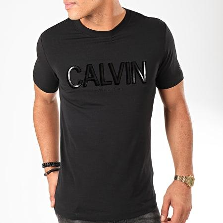 Calvin Klein - Tee Shirt Flock Calvin Stretch 4095 Noir