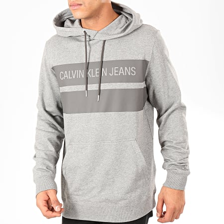 Calvin Klein - Sweat Capuche Institutional Blocking 4198 Gris Chiné