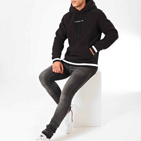 Calvin Klein - Sweat Capuche Polaire Sherpa Pop Over 4537 Noir