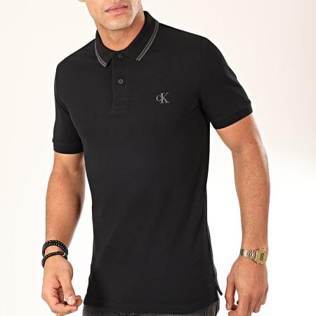 Calvin Klein - Polo Manches Courtes Essential Tipping 4565 Noir Gris