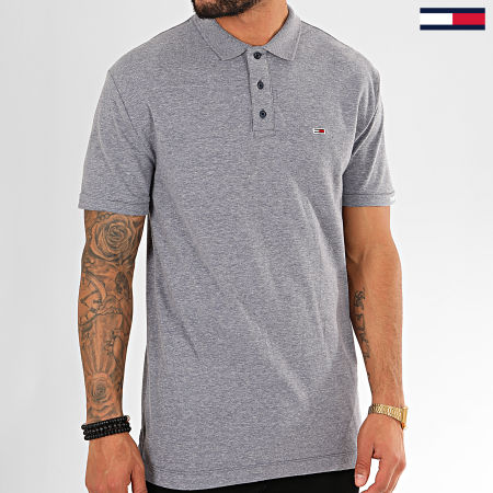 Tommy Hilfiger Jeans - Polo Manches Courtes Logo Sleeve 7455 Bleu Clair Chiné