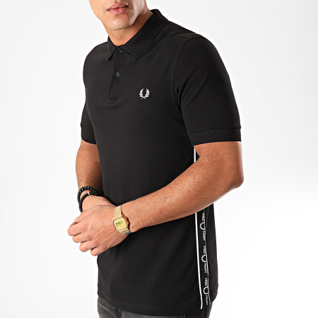 Fred Perry -  Polo Manches Courtes A Bandes Taped Side M7532 Noir