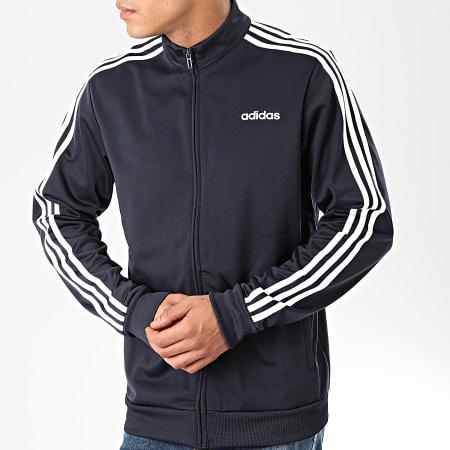adidas - Veste Zippée A Bandes Essential DU0445 Bleu Marine Blanc