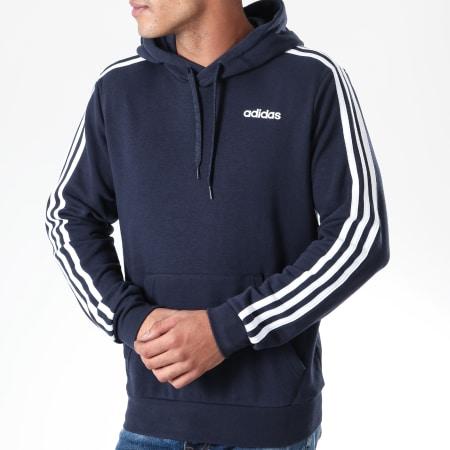 adidas - Sweat Capuche A Bandes Essentials PO DU0499 Bleu Marine Blanc