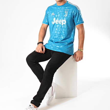 adidas - Tee SHirt De Sport A Bandes Juventus 3 DW5471 Bleu Clair