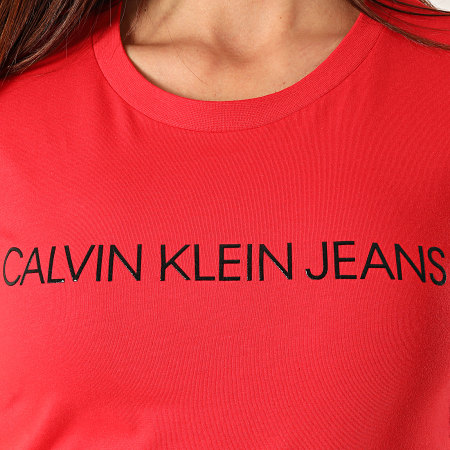 Calvin Klein - Tee Shirt Femme Institutional Logo 3127 Rouge