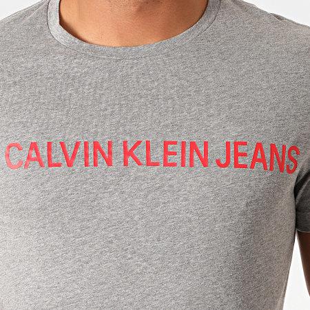 Calvin Klein - Tee Shirt Institutional Logo 7856 Gris Chiné Rouge