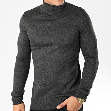 Aarhon - Pull Col Roulé AAP001 Gris Anthracite Chiné