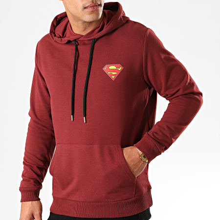 Superman - Sweat Capuche Original Logo Back Bordeaux