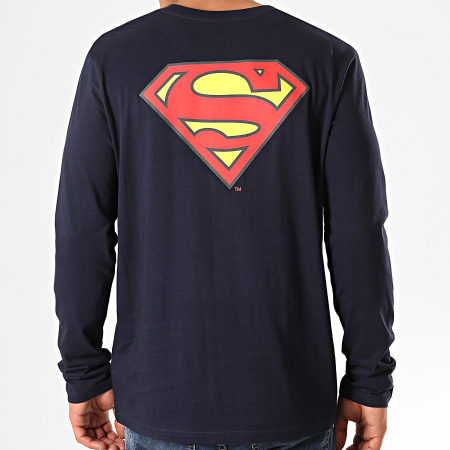 Superman - Tee Shirt Manches Longues Original Logo Back Bleu Marine