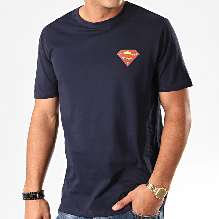 Superman - Tee Shirt Original Logo Back Bleu Marine