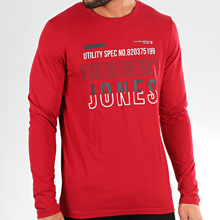 Jack And Jones - Tee Shirt Manches Longues Booth Rouge