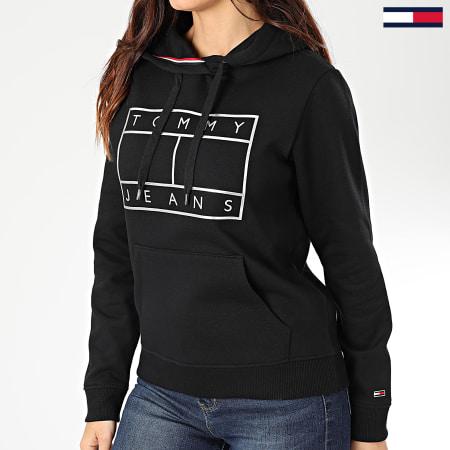 Tommy Jeans - Sweat Capuche Femme Essential Logo 7547 Noir Argenté