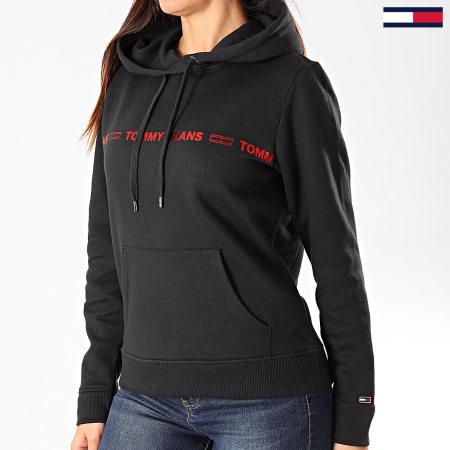 Tommy Hilfiger Jeans - Sweat Capuche Femme Linear Logo 7798 Noir