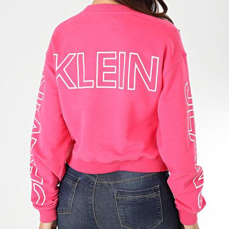 Calvin Klein Jeans - Sweat Crewneck Crop Femme Blocking Statement Logo 2980 Rose Blanc