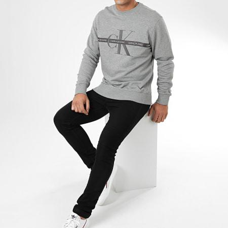 Calvin Klein - Sweat Crewneck Taping Through Monogram CN 4127 Gris Chiné