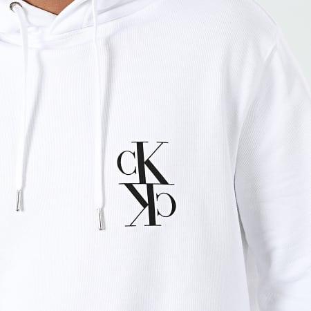 Calvin Klein Jeans - Sweat Capuche Back Mirrored Monogram 4195 Blanc
