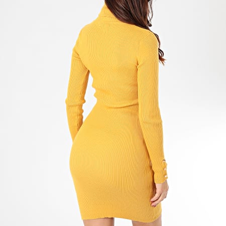 Girls Only - Robe Manches Longues Femme A Col Roulé M202 Jaune Moutarde