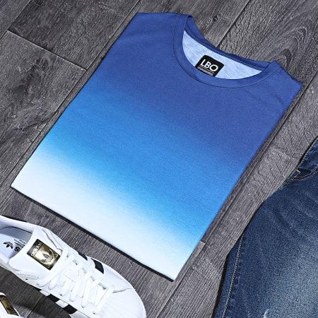 LBO - Tee Shirt Oversize Dégradé Avec Revers 943 Bleu Blanc