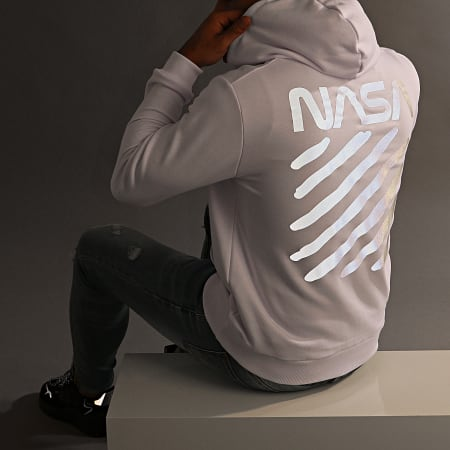 NASA - Sweat Capuche Skid Reflective Blanc