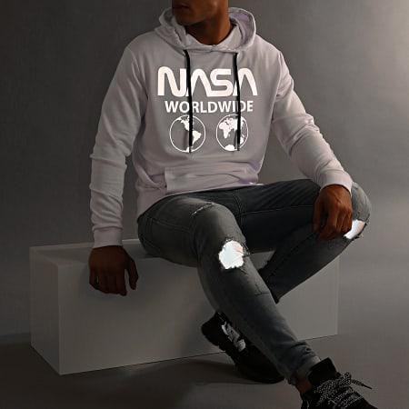 NASA - Sweat Capuche Worldwide Reflective Blanc