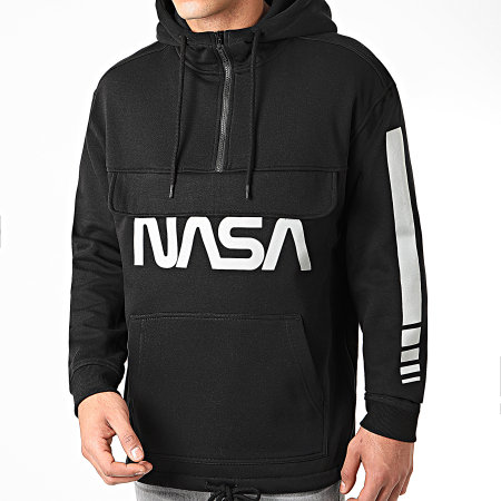 NASA - Sweat Outdoor Col Zippé Worm Logo Reflective Noir