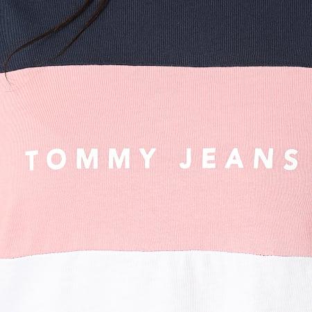 Tommy Hilfiger Jeans - Tee Shirt Femme Stripe Logo 7536 Bleu Marine Rose Blanc