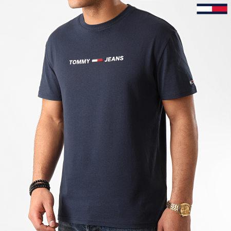 Tommy Jeans - Tee Shirt Straight Small Logo 7621 Bleu Marine