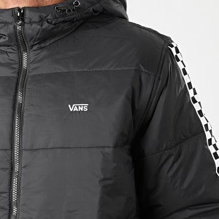Vans - Doudoune Capuche A Bandes Woodridge 0A45AZ95Y Noir Blanc