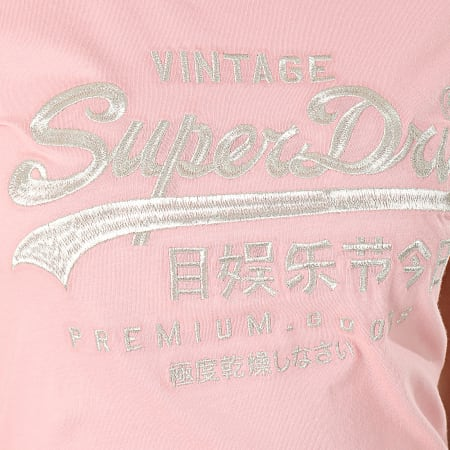 Superdry - Tee Shirt Slim Femme Premium Goods Luxe Embroidered W1000067A Rose Doré