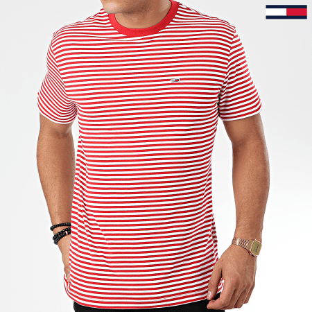 Tommy Jeans - Tee Shirt Classics Stripe 5515 Rouge Blanc