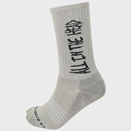 Rilès - Lot De 3 Paires De Chaussettes Socks Gris Vert Noir
