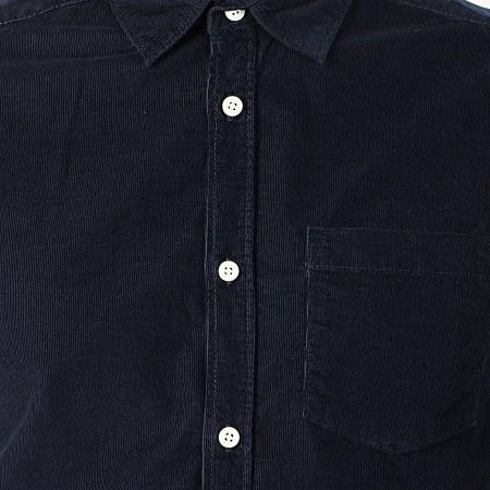 Tokyo Laundry - Chemise Manches Longues Velours Muretto Bleu Marine