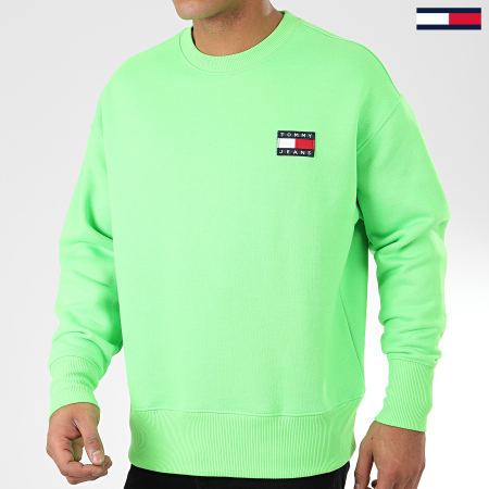 Tommy Jeans - Sweat Crewneck Tommy Badge Neon 8120 Vert Fluo
