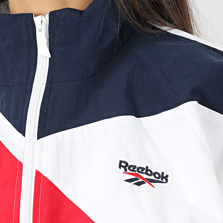 Reebok - Veste Zippée Femme Crop Classic Vector FL9428 Blanc Bleu Marine Rouge
