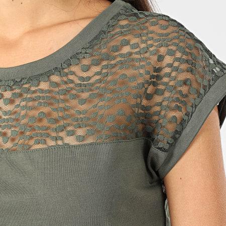 Only - Tee Shirt Femme Dentelle Kamira Vert Kaki