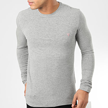 Guess - Tee Shirt Slim Manches Longues M01I34-J1300 Gris CHiné