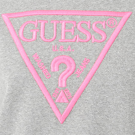 Guess - Sweat Crewneck Femme W01Q56-K68I0 Gris Chiné Rose Fluo